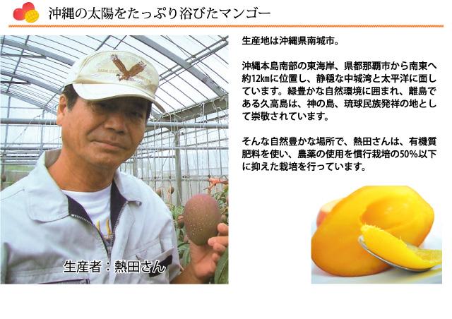 沖縄県南城市の自然豊かな場所で、熱田さんは、有機質肥料を使い、農薬の使用を慣行栽培の50%以下に抑えたマンゴー栽培を行っています。