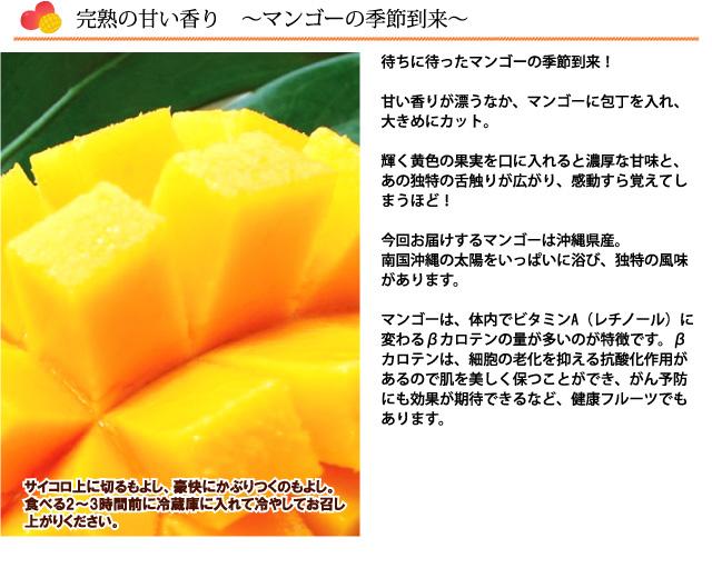 完熟の甘い香りが漂う、沖縄県産にこにこマンゴー。